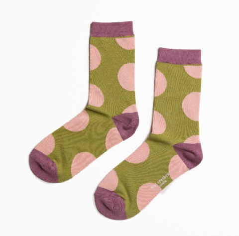 GREEN PINK LARGE SPOT SOCKS